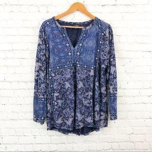 Lucky Brand blouse longsleeve Blue Navy Paisley
